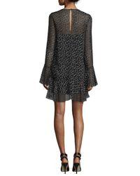 Theory - Black Marah Star-print Silk Dress - Lyst