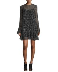 Theory | Black Marah Star-print Silk Dress | Lyst