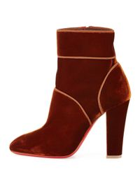 Christian Louboutin - Brown Velvet 100mm Red Sole Ankle Boot - Lyst