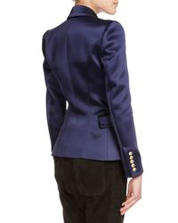 Balmain - Blue Double-breasted Satin Blazer - Lyst