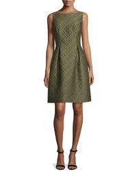 Lela Rose | Green Betsy Check-matelasse Full-skirt Dress | Lyst