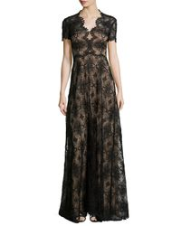 Catherine Deane - Black Short-sleeve Lace-embroidered Gown - Lyst