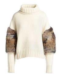 Sally Lapointe - White Wool-cashmere Turtleneck Sweater W/fox Fur Sleeves - Lyst