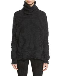 Urban Zen - Gray Jacquard Knit Turtleneck Sweater - Lyst