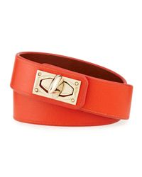 Givenchy - Orange Calf Leather Shark-lock Wrap Bracelet - Lyst