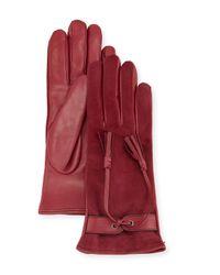 Mario Portolano | Red Leather & Suede Tassel Gloves | Lyst