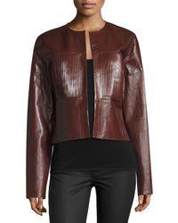 Joseph   Brown Nim Collarless Coated Leather Jacket   Lyst
