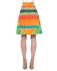 Akris Punto | Multicolor Net-print A-line Cotton Skirt | Lyst