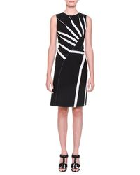 Bottega Veneta - Black Asymmetric Sunburst-inset Dress - Lyst