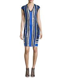 Roberto Cavalli - Blue Cap-sleeve Mixed-print Sheath Dress - Lyst