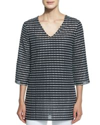 Michael Kors | Black Embroidered Metallic Dot-print Tunic | Lyst