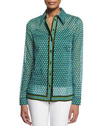 Michael Kors - Green Deco-print Button-down Shirt - Lyst