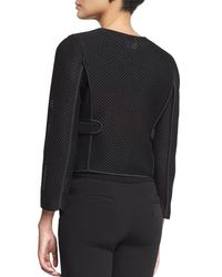 Armani - Black Zip-front Mesh Cropped Jacket - Lyst