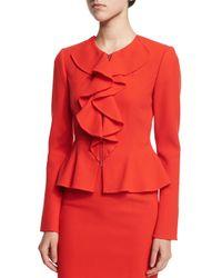 Oscar de la Renta - Red Long-sleeve Ruffle-front Jacket - Lyst