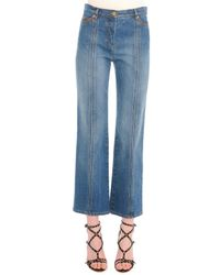 Valentino - Blue Contrast-stitched Flared Jeans - Lyst