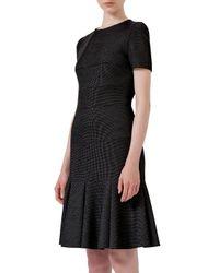 Akris Punto - Black Short-sleeve Jewel-neck Flounce Dress - Lyst