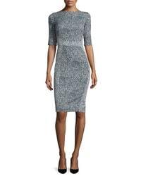 Lela Rose - Blue Half-sleeve Seamed Sheath Dress - Lyst