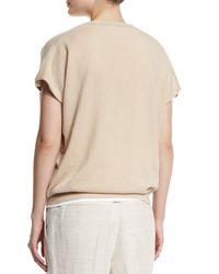 Brunello Cucinelli - Natural Short-sleeve Boyfriend Cashmere Pullover Top - Lyst