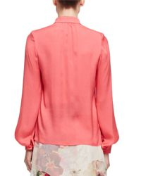 Lanvin - Pink Band-collar Silk Blouse - Lyst
