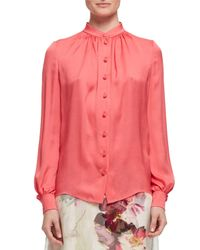 Lanvin - Pink Band-collar Silk Blouse - Lyst