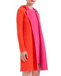 Akris - Orange Reversible Long-sleeve Cashmere Colorblock Coat - Lyst