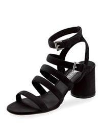 Prada - Multicolor Suede Multi-strap 65mm Sandal - Lyst