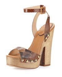 Alexandre Birman | Brown Zoee Wooden Python Platform Sandal | Lyst