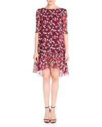 Saint Laurent | Red Half-sleeve Poppy-print Flutter Dress | Lyst
