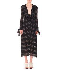 Proenza Schouler | Black Long-sleeve Pinstriped Gauzy Crepe Midi Dress | Lyst