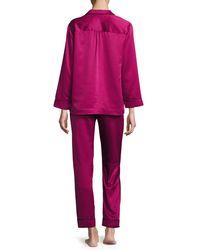 Oscar de la Renta - Purple Matte Satin Two-piece Pajama Set - Lyst
