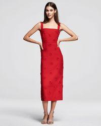 Valentino | Red Daisy-embellished Sleeveless Midi Dress | Lyst