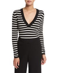 Veronica Beard - Black Decade Striped V-neck Bodysuit - Lyst