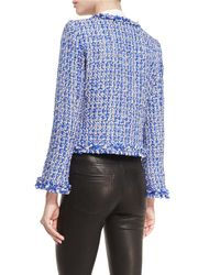 Alice + Olivia - Nila Blue Tweed Jacket - Size M - Lyst