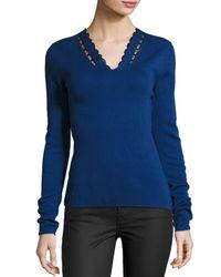 Elie Tahari | Blue Uma Lace-trim Merino V-neck Sweater | Lyst