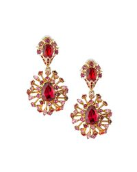 Oscar de la Renta | Pink Tiered Crystal Clip-on Drop Earrings | Lyst