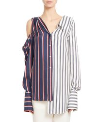 Monse | Blue Two-tone Striped Combo Blouse | Lyst
