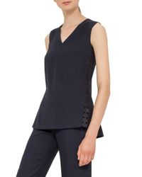 Akris Punto | Blue V-neck Crepe Blouse | Lyst