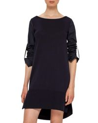 Akris Punto - Blue Boat-neck Cotton Shift Dress - Lyst