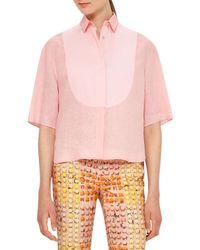 Akris Punto | Pink Half-sleeve Linen Blouse | Lyst