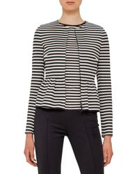 Akris Punto | Black Striped Peplum Zip Jacket | Lyst