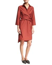 Brunello Cucinelli | Red Crinkled Wrap-front Shirtdress | Lyst