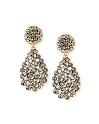 Oscar de la Renta   Metallic Classic Crystal Teardrop Clip Earrings   Lyst