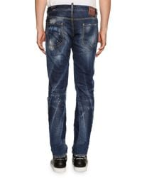 DSquared² - Blue Slim-fit Micro-stitch Distressed Jeans for Men - Lyst