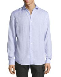 Ralph Lauren - Purple Solid Linen Button-down Shirt for Men - Lyst