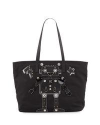 Prada | Black Medium Nylon Robot Tote Bag | Lyst