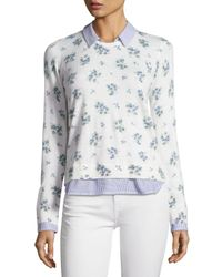 Joie - White Rika J Layered Floral-print Sweater - Lyst