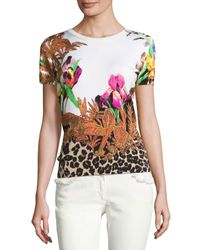 Etro | Black Floral & Animal-print Short-sleeve Sweater | Lyst