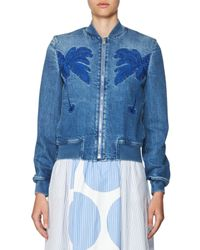 Stella McCartney | Blue Embroidered Denim Bomber Jacket | Lyst