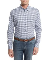 Brioni | Blue Graph-check Sport Shirt for Men | Lyst