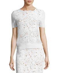 Oscar de la Renta | White Short-sleeve Lace-front Top | Lyst